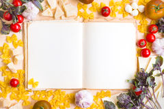 Old blank recipe book with italian food ingredients Stock Image