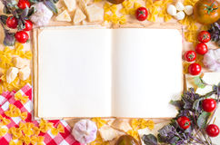 Old blank recipe book with italian food ingredients Royalty Free Stock Images