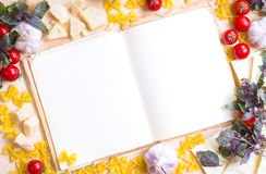 Old blank recipe book with italian food ingredients Stock Photography