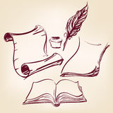 Old blank scroll paper and feather pen royalty free illustration