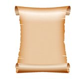 Old blank scroll paper on white background. Vector illustration Royalty Free Stock Photography