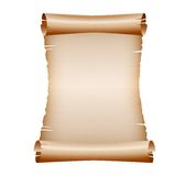 Old blank scroll paper on white background. Vector illustration Stock Photos