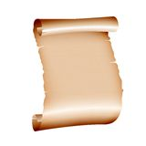 Old blank scroll paper on white background. Vector illustration Stock Image
