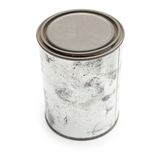 Old blank tin paint can isolated on white. Stock Image