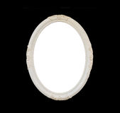 Old Blank White Oval Wooden Frame Isolated on Black Royalty Free Stock Photo