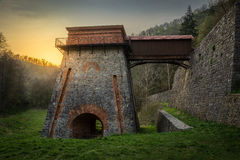 Old Blast Furnace near Adamov. Construction of the Charcoal Ironworks Known as Frantiscina Hut near Adamov, Czech Republic royalty free stock photography