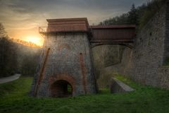 Old Blast Furnace near Adamov. Construction of the Charcoal Ironworks Known as Frantiscina Hut near Adamov, Czech Republic royalty free stock photos
