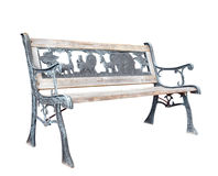 Old Bleached Park Bench with Zoo Theme Royalty Free Stock Photography