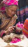 An old, blind, Flower Hmong is selling colorful rice at Bac Ha Stock Image