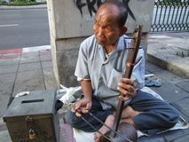 Old blind man, Thailand. Stock Photo