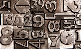 Old block numbers. Old brushed metallic block letters Royalty Free Stock Photography