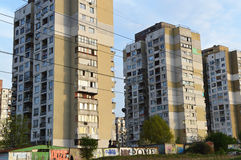 Old blocks of flats in depressed area of Sofia. Sofia, Bulgaria – April 8, 2016: Old blocks of flats in depressed area of the capital city. The country is part Royalty Free Stock Photo