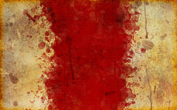 Old, Blood Splattered Grunge Parchment Paper. A very old, tattered and stained page of parchment with a large, red splattered blood stain down middle Royalty Free Stock Photography