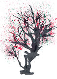 Old blossomed tree painted in ink. stock illustration