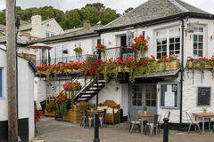 Old blossoming pub at Looe, Cornwall Stock Photo