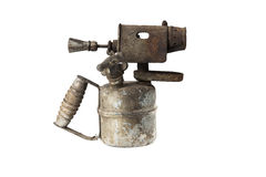 Old blowtorch isolated on white background Royalty Free Stock Photography