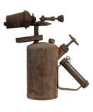 Old blowtorch. Old rusty blowtorch isolated on white background Stock Photos