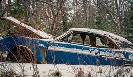 Abandon car in the winter Royalty Free Stock Photo