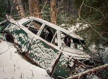 Abandon car in the winter Stock Image