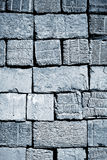 Old Blue aerated concrete blocks Royalty Free Stock Image