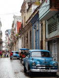 OLD BLUE AMERICAN CAR IN A STREET IN HAVANA, CUBA Royalty Free Stock Photos