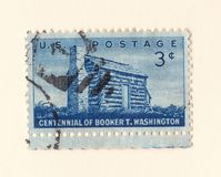 An old blue american postage stamp celebrating the centennial of african american author booker t Washington in 1956 royalty free stock photos