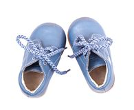 Old blue baby shoes Stock Photography