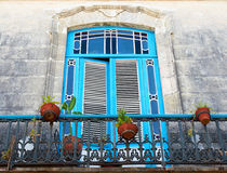 Old Blue Balcony With Plant Pots Stock Photography