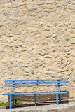 Old blue bench, southern france. Royalty Free Stock Photos