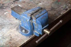 Old blue bench vice Royalty Free Stock Images