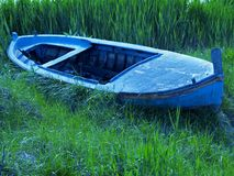 Old blue boat Stock Images