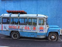 Old blue bus Stock Image