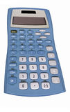 Old blue calculator Stock Photo