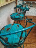 The old blue chair decoration coffee shop stock photography