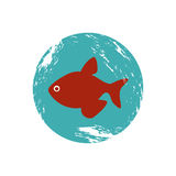 Old blue circular border with fish. Illustration Stock Photography