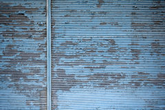 Old blue and corrugated zinc texture Stock Photos