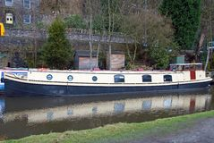 Old Blue and Cream Narrowboat Royalty Free Stock Images