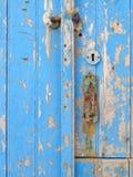 Old blue door detail Stock Photos