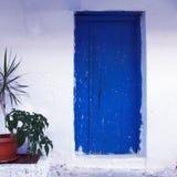 Old blue door in Greece Stock Image