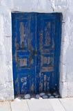 Old blue door on Santorini island, Greece Royalty Free Stock Images