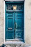 Old blue door in Tallinn stock photography