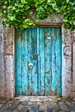 Old blue door. In a village Royalty Free Stock Images