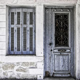 Old Blue Door and Window Stock Images