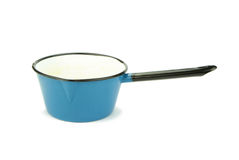 Old blue enamel sauce pan. Stock Photo