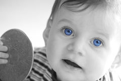 Old Blue Eyes. Black and white with blue eyes stock photos