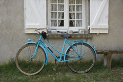 Old blue french bicycle Royalty Free Stock Photo