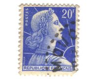 Old blue french stamp Stock Photo