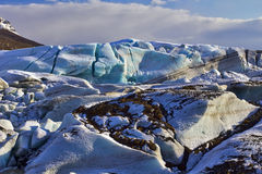 Old Blue Glacial Ice, Svinafellsjokull Glacier, Skaftafell, Iceland. Royalty Free Stock Photos