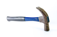 Old blue hammer on white background Stock Photography