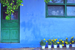 Old blue house with yellow flowers at the entrance Stock Photography